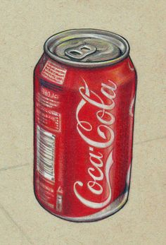 Pencil Drawing Tutorials Drawing of a can of coke. Done with pencil crayons and a black pen. I have used watercolour-pencils for the great depth of colour they give to the reds. Cool Art Drawings, Pencil Art Drawings, Realistic Drawings, Colorful Drawings, Easy Drawings, Watercolour Pencil Art, Copic Marker Drawings, Colored Pencil Artwork, Colored Pencils