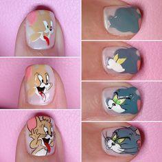 #20170509 #센스홍_네일튜토리얼 #톰과제리네일 🐭🐱 제리는 첨에 찍는거 까먹어서 급등장😅 - #Sensehong_nailtutorial #네일튜토리얼 #톰과제리 #tomandjerry notd #nails #gelnails Pop Art Nails, Nail Art Diy, Cartoon Nail Designs, Nail Art Designs, Anime Nails, Japan Nail, Floral Nail Art, Cat Nails, Minimalist Nails