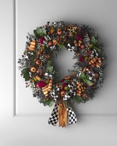 "MacKenzie-Childs ""Farmhouse"" Wreath - Wreath is embellished with signature ribbons and artificial greens, fruits, and berries."