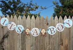 JUNGLE MONKEY It's a Boy Baby Shower Banner in Blue and Brown - Customize Your Way. $20.00, via Etsy.