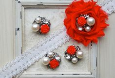 4 Metal RED Flower Pearl Cluster Buttons by shabbyrosetrim on Etsy, $7.99