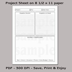 printable project planning sheets - Bing images
