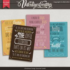 """""""Christmas Songs {Journal Cards}"""" includes 4 Journal Cards in png format, 300 ppi.Cardmaking Businesses, Papercrafting, PrintablesYou may us..."""