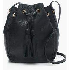 J.Crew Tassel-Tie Bucket Bag ($220) ❤ liked on Polyvore featuring bags, handbags, shoulder bags, j.crew, tie purse, drawstring bucket bag, drawstring purse and pebbled leather handbag
