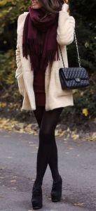 winter fashion cream coat burgundy scarf