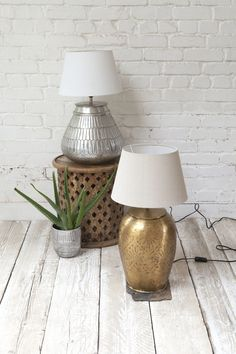 Leena Brass Lamp & Amira Silver Lamp || Introduce metallic accents against pops of colour and natural tones.