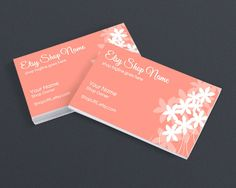 Business Card Design - Floral 16 Peachy Pink - Printable Business Card