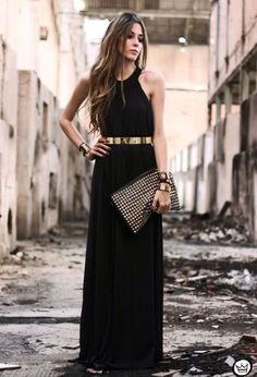 Miniminou golden accessories and maxi dress - Black Belt - Ideas of Black Belt - Miniminou golden accessories and maxi dress Lace Dresses, Trendy Dresses, Elegant Dresses, Beautiful Dresses, Short Dresses, Formal Dresses, Prom Dresses, Chiffon Dress, Beauty And Fashion
