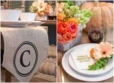 Thanksgiving Gathering Party Ideas from AmysPartyIdesa.com and Swoozies.com   Monogrammed Burlap Table Runner & Foil Napkins