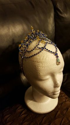 Crystal Ballet Tiara, Royal Blue and Gold for Odalisque by Michelle Fabrega