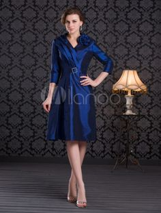 Vestido para la madre de la novia de tafetán azul de línea A con escote en V y mangas largas - Milanoo.com