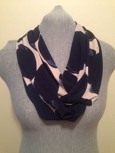 Navy and cream  infinity scarf  on Etsy, $20.00