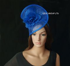 93c611cedc0fa Items similar to Royal blue sinamay fascinator hat for party wedding races.  on Etsy