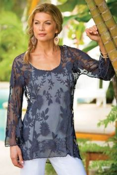 A lacy layer of floral embroidered mesh is romantically chic over a cami or tank, and so shapely with princess seaming and a curve-conscious fit. Pretty scalloped edges finish the three-quarter bell sleeves and hem.