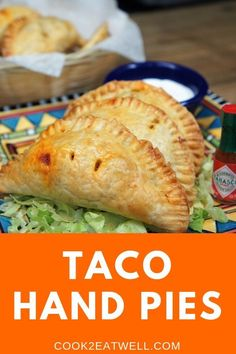 These hot and flaky, taco hand pies are filled with a delicious and flavorful filling. We use ground turkey that's seasoned with a southwestern-inspired seasoning blend, black beans, corn and just a little bit of Monterey Jack cheese and green onions. Puff Pastry Recipes, Pie Recipes, Appetizer Recipes, Cooking Recipes, Appetizers, Mexican Dishes, Mexican Food Recipes, Quiche, Fried Pies