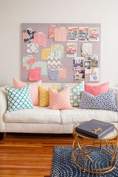 Philadelphia Penthouse eclectic home office #modern #contemporary sofa with pastel coloured throw pillows