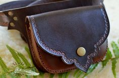 LeAthEr BeLt bAg - one of a kind hand tooled, sewn and painted walnut and chocolate - handmade