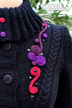 "Ravelry: OglezneVA's ""Peacock's tail"" - knit coat with crochet elements"