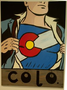 Superman / Colorado flag motif.  Very large about 3x4. Acrylic on canvas. 2011. www.justinpauls.com