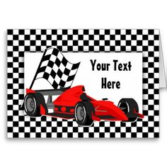 Race Car and Checkered Flag Card Card. Thank you customer in Maine!