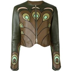 Givenchy Peacock Feather Applique Jacket ($3,451) ❤ liked on Polyvore featuring outerwear, jackets, givenchy, blazer, green, lamb leather jacket, green jacket, lambskin jacket, brown jacket and zip front jacket