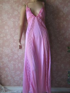Long Vintage Nightgown Lace Insets Pink Small Medium by WeeBitUsed, $36.00