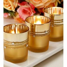Gold Mercury votives. These gold rhinestone mercury votives are a must have at a great price! Perfect for events or holiday gatherings as well as just simply ho