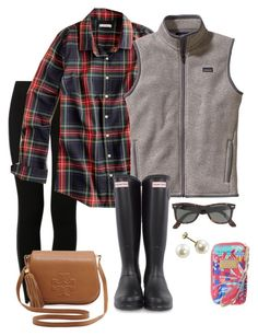 """""""hunters"""" by sarinaalily ❤ liked on Polyvore featuring NIKE, J.Crew, Patagonia, Hunter, Ray-Ban, Tory Burch and Lilly Pulitzer"""