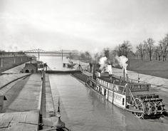 The Ohio River circa 1906. Canal locks at Louisville, Kentucky.