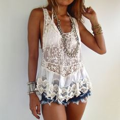 Light Lace Tank Top in White /Boho Lace Top/ Romantic by SpellMaya