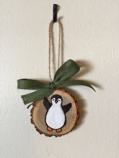 Wood Slice Ornament Penguin Ornament Wood by TheChaoticPawPrints