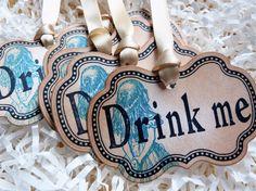 Alice in Wonderland Drink Me Vintage Gift Tag Label