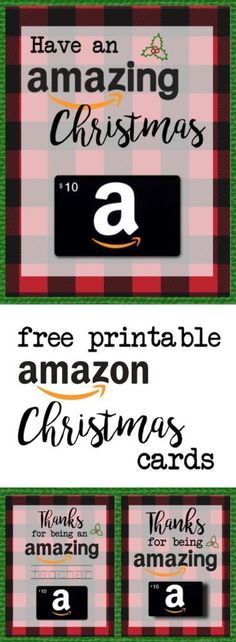 FREE Printable Christmas Gift Card Holders for Amazon Gift Cards! Print free printable flannel Christmas cards for amazon gift cards. Great teacher gifts, friends and neighbors! | Paper Trail Design