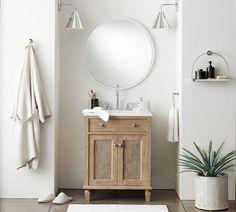 Linden Shelf | Pottery Barn Extra Large Mirrors, Round Mirrors, Bathroom Hardware, Bathroom Fixtures, Bathroom Accents, Bathrooms, Free Interior Design, Interior Design Services, Bathroom Furniture