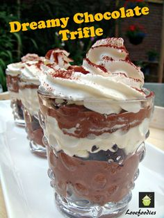Dreamy Chocolate Trifle. A great easy recipe, made from scratch or option to make from instant. Come and see the goodies in this lovely chilled dessert!
