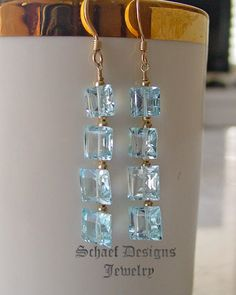 Swiss blue topaz square cut gemstones & gold vermeil french wire dangle earrings |online jewelry boutique | Schaef Designs artisan hand-crafted Gemstone & pearl Jewelry | San Diego, CA