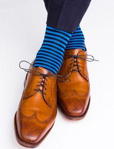 Dapper Classics Navy and Royal Blue Repeating Stripe Sock #welldressedman