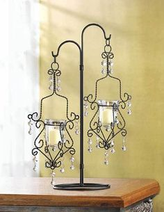 Crystal Drop Candle Holder Vintage Hanging With Stand