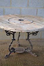 Industrial shabby chic Cable drum indoor/outdoor dining table on cast iron base