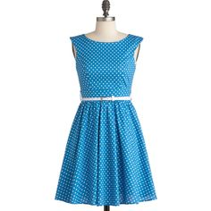 Azul You Like It Dress ($53) ❤ liked on Polyvore featuring dresses, modcloth, vestidos, stretchy dresses, back zipper dress, blue dress, cotton stretch dress and cotton dress