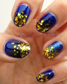 blue gold glitter nails