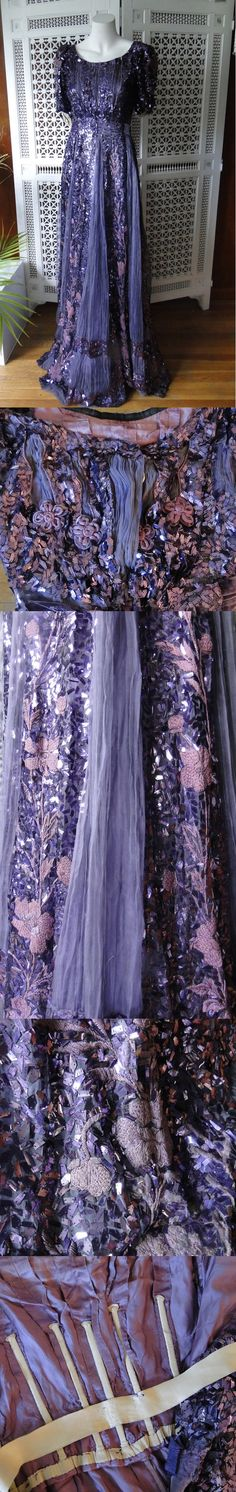 "Purple Sequined Evening Gown, circa 1910 (possibly with later alterations) via eBay | Measurements: 32-26-n/a Irregular sequins gained popularity around 1905. The style and outer materials all look authentic, circa 1910 or so, but the dress may have had a few alterations over the years (it looks like someone fiddled with the sleeves). Perhaps it was re-worked c.1930-40 or as a costume piece for theater? From the seller: ""Part of a museum deaccession."" (dress is displayed backwards)"
