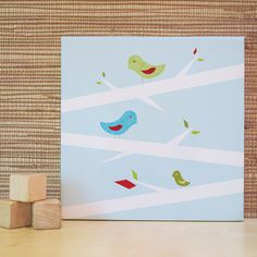 'Three Little Birds' canvas - lesson idea - drafting tape mask, create background - chalk or watercolor... add patterned paper birds