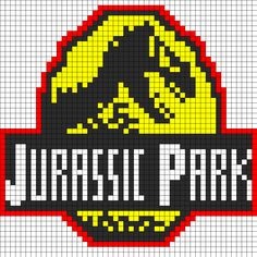 Jurassic Park Logo Perler Bead Pattern | Perler Bead Patterns | Misc Fuse Bead Patterns