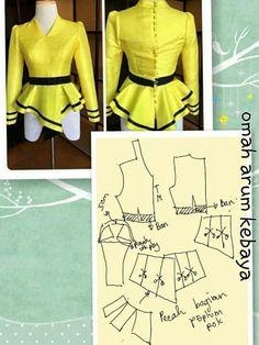 Dress Sewing Patterns, Blouse Patterns, Clothing Patterns, Blouse Designs, Blouse And Skirt, Peplum Dress, Thai Fashion, Sewing Blouses, Collar Pattern
