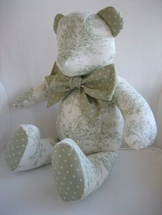 MADE TO ORDER  Avery  Sage Green Toile Teddy Bear by mavynm, $50.00