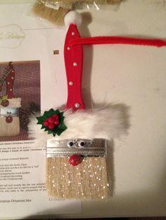 Paintbrush ornament by craftingguru on Etsy Christmas Wood, Christmas Crafts For Kids, Homemade Christmas, Christmas Projects, All Things Christmas, Holiday Crafts, Christmas Gifts, Christmas Decorations, Santa Ornaments
