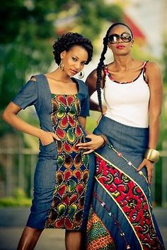b-sama:    Denim and Ankara by Eve Collections    Tanzanian Designers Evelyn Rugemalirawas an Operations Manager for a family-owned business is Dar Es Salaam when she opened a clothing fashion label called Eve Collections