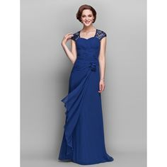 A-line V-neck Floor-length Georgette Mother of the Bride Dress