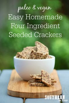 Homemade crackers do not get easier than this! This Homemade Paleo and Vegan Cracker Recipe uses just four ingredients and takes just a few minutes to make. They are also gluten free, grain free, egg free, dairy free, low carb, high fiber, paleo, sugar free, clean eating friendly and there is even a nut free option! Vegan Cracker Recipe, Paleo Crackers Recipe, Low Carb Crackers, Gluten Free Crackers, Homemade Crackers, Vegan Crackers, Flax Seed Recipes, Almond Recipes, Vegan Recipes